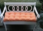 Orange White Geometric Hockley Tufted Cushion for Bench~Swing~Glider-Choose Size