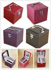 2x Jewellery boxes earring necklace ring storage travel 3 layers PU with mirror