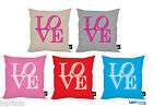 "LOVE LETTERS DESIGN  18X18"" CUSHION 5 DIFFERENT COLOURS AVAILABLE IDEAL GIFT"