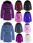 Womens Duffle Fleece Coat Jacket Ladies Hooded Button Trench Coat Winter Jacket
