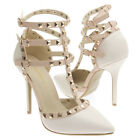 Off White PU Leather Pointy Toe T Strap Ankle Stud Stiletto High Heel Pump 5-11