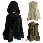 Womens Knitted Fur Lined Cape Hooded Poncho Ladies Baggy Open Front Shawl