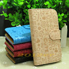 Graffiti pattern PU leather flip case cover for Samsung phone credit card slots