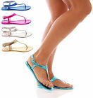 LADIES WOMANS JELLY SANDALS SNAKE FLAT FLIP FLOPS HOLIDAY SHOES SIZE 3-8