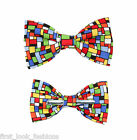 Colorful Squares Clip On Bow Tie - Men / Big & Tall / Boys