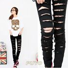 Black Cotton Denim jeans Skinny pants Jeans Ripped jeans long for women 7340