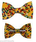 Christmas / Holiday Yellow / Colorful Lights Clip On Bow Tie
