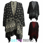 Womens Aztec Oversized Open Shawl Ladies Reversible Knitted Cape Cardi Wrapover