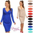 Sexy Long Sleeve V Neck Work Office Jersey Dress UK Sizes 8-26 24h Dispatch 285