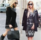 Fashion New Women Casual Contrast PU Leather Long Sleeve Coat Cool Jacket - LA