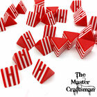 ☆ 5-20 Pcs 15mm TRIANGLE RED WHITE STRIPED ACRYLIC LOOSE SPACER BEADS WHOLESALE