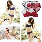 Women Sexy Lingerie Lace Dress Sleepwear Push-UP Pad Bra G-String Set Underwear
