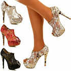NEW Womens Ladies Stiletto Ankle Boots Lace Sequine High Heel Shoe Booties Size