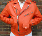 MENS ORANGE MOTORCYCLE MOTORBIKER BRANDO PERFECTO CLASSIC LEATHER JACKET