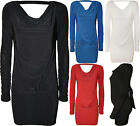 New Womens Plain Cowl Neck Long Sleeve Tie Up Ladies Open Back Party Top 8 - 16