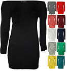 New Womens Off Shoulder Elasticated Plain Ladies Long Sleeve Stretch Top 8 - 14