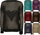 New Womens Love Heart Mesh Crochet Long Sleeve Ladies Knitted Top Jumper 8 - 14