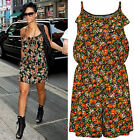 New Womens Celebrity Floral Print Frill Ladies Strappy Sleeveless Playsuit 8-14