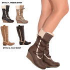 LADIES WOMENS CASUAL BOOTS SHEARLING FUR TRIM COMFORT WINTER WARM SHOES SIZE