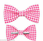 Shocking Pink / White Houndstooth Clip On Bow Tie