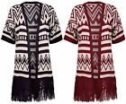 Womens New Aztec Print Ladies Short Sleeve Tassel Crochet Knit Open Cardigan Top