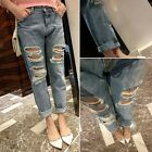 Girl High Waist Destroyed Ripped Motorcycle Distressed Denim Crop Jeans Pants LA