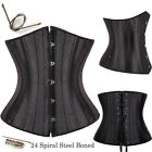 High-Class Pure 26 Spiral Steel Boned Lace up Waist training underbust Corset UK