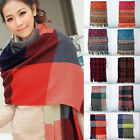 Women Plaid and Check print pashmina long soft scarf stole wrap shawl cape New