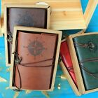 A6 Classic Retro Vintage Leather Bound Spiral Blank Pages Journal Diary Notebook
