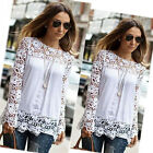 Sexy Women's Sheer Sleeve Embroidery Lace Crochet Tee Chiffon Blouse Tops Shirt