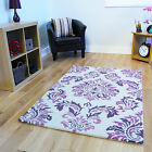 New Soft Extra Thick Purple Floral Wool Rug Durable Long Lasting Modern Rugs