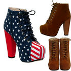 New Ladies Women Suede Boots American Hi High Heel Party Club Size Uk3 4 5 6 7 8