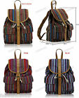 LS Canvas Multicoloured Retro Aztec Strip Print Rucksack Backpack #269