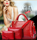 3PCS Fashion New Luxury Alligator Pattern Cow leather Womens Handbag