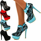 Womens Ladies Stiletto Lace Ankle Boot Satin Bow High Heel Shoe Booties NEW Size
