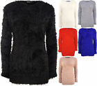 New Womens Plain Fluffy Long Sleeve Sweater Top Ladies Knitted Jumper 10 - 16