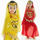 Kids Girls Belly Dance Costume Outfit Sequins Top and Skirt 3 Colors