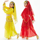 Kids Girls Belly Dance Costume(Long-sleeve Top and Sequins Skirt)3 Colors