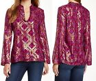 NWT $325 Tory Burch Lame Plaid Silk Chiffon Tunic