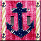 Light Switch Plate Cover - Sailor anchor starry back pink - Rope boat sea deco