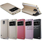 Magnetic Flip Leather Stand Aluminum Bumper Case Cover for Samsung Galaxy S4 S5