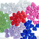 10 glittery heart buttons blue red green pink  size 18  11mm diameter