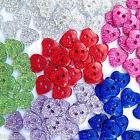 10 glittery heart buttons blue red green pink  size 16  10mm