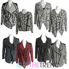 Womens Floral Plain Italian PVC Waterfall Asymetric Cardi Cardigan Zipped Blazer