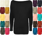 New Women Plain Batwing Long Sleeve Long Dress Stretch Shoulder Top 8-20