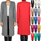 Womens Ladies Floaty Open Front Long Sleeve Casual Long Line Cardigan