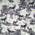Christmas Scene stag/deer IVORY fabric 100 % cotton per 1/2 mtr or per FQ