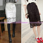 Beautiful Lady High Waisted Flower Lace Crochet Bodycon Midi Pencil Skirt Dress