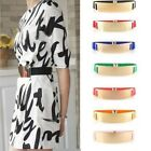 HOT Elastic Lady Girls Gold Plate Mirror Metal Waist Belts Wide Metallic Band LA