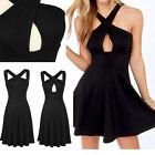 Top Sale Sexy Women Halter Cross Party Club Evening Cocktail Mini Pleated Dress